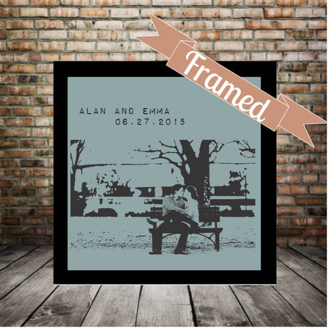 Engagement Gift Personalized Silhouette Photo FRAMED Print Great Wedding Gift Anniversary Gift