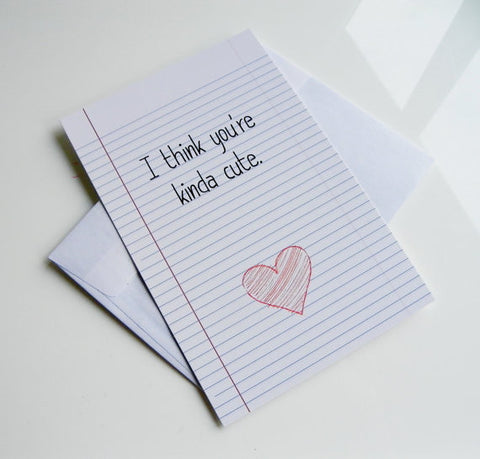 Geekery Valentine Card I Think You're Kinda Cute Valentine Card Valentines Day School Note