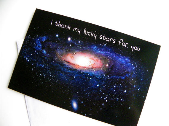 I Thank My Lucky Stars For You Valentine Card Romantic Valentine Card Valentines Day Geekery Love