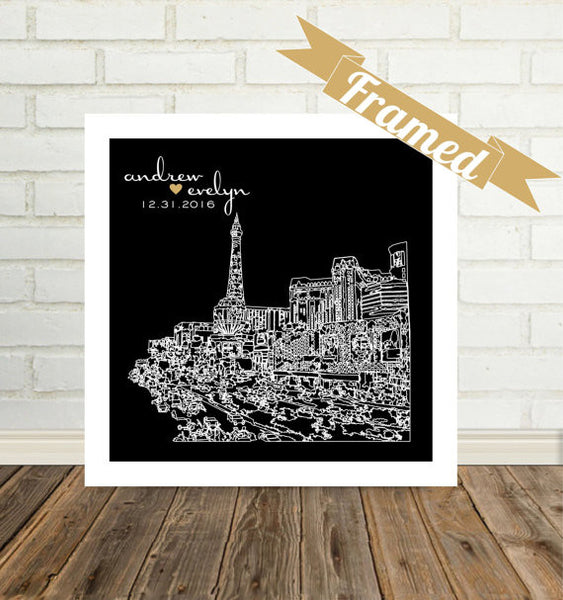 Engagement Gift for Couple City Skyline Print FRAMED Any City Available Newly Engaged Gift