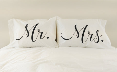 Mr and Mrs Wedding Gift Couples Gift Pillowcase Set Mr and Mrs Pillows Unique Wedding Gift Bridal Shower Gift for Newlyweds Mr and Mrs Sign