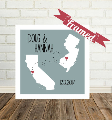 Personalized Long Distance State Map Framed Art, Long Distance Love Gifts for Long Distance Couple All States Available, Countries and Provinces too