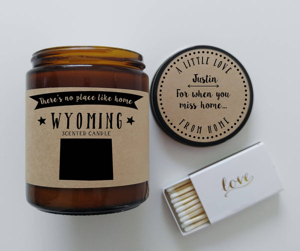 Wyoming Scented Candle Missing Home Homesick Gift Moving Gift No Place Like Home State Candle