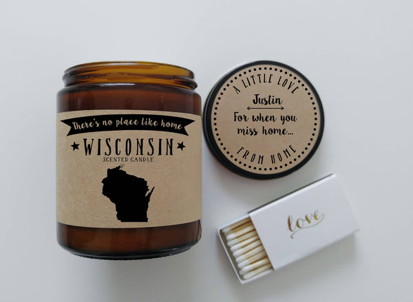 Wisconsin Scented Candle Missing Home Homesick Gift Moving Gift No Place Like Home State Candle