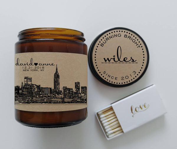 Unique Engagement Gift for Couple Skyline Wedding Gift Custom Candle