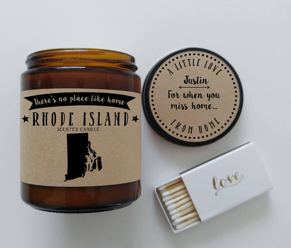 Rhode Island Candle State Scented Candle Moving New Home Gift No Place Like Home State Candle