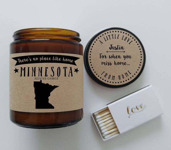 Minnesota Scented Candle Missing Home Homesick Gift No Place Like Home State Candle
