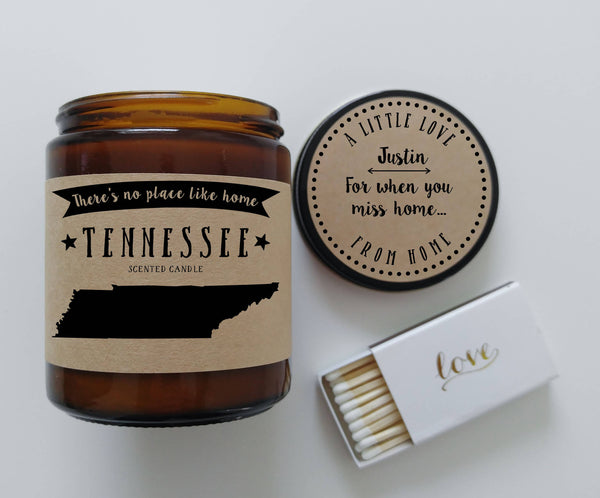 Tennessee Scented Candle Missing Home Homesick Gift Moving Gift No Place Like Home State Candle