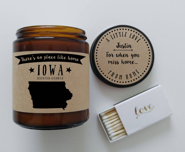 Iowa Candle State Scented Candle Missing Home Moving Gift No Place Like Home State Candle