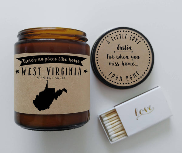 West Virginia Scented Candle Missing Home Homesick Gift No Place Like Home State Candle Gift
