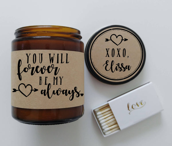 Valentines Day Gift for Girlfriend Forever And Always Love You Forever Valentine Candle Gift