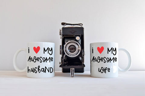 Couples Mug Set I Love My Awesome Husband I Love My Awesome Wife  Valentine Gift