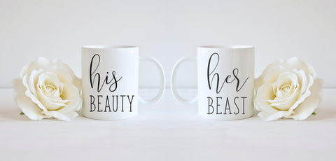 His and Hers Mug Set His Beauty Her Beast Mugs Beauty and the Beast Gift for Couple Valentine Gift
