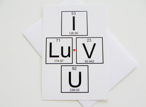 I Love You Periodic Table of Elements Card Romantic Card Valentines Day Card