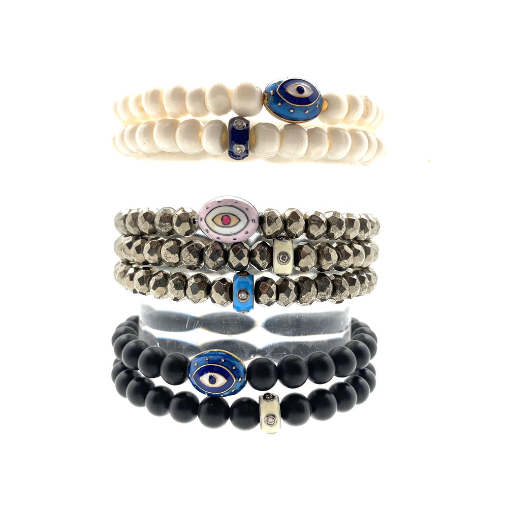 Enamel & Diamond Spacer Accent Beaded Bracelet