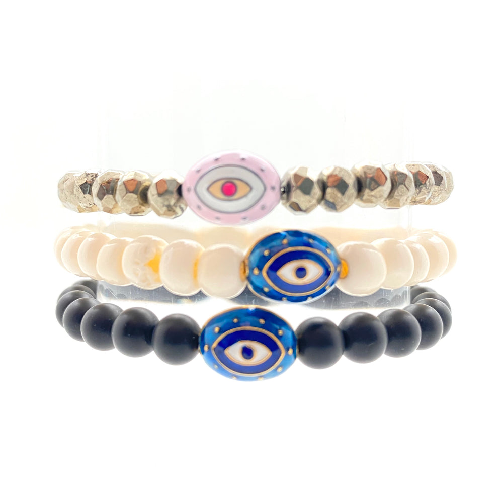 Enamel Evil Eye Beaded Bracelet