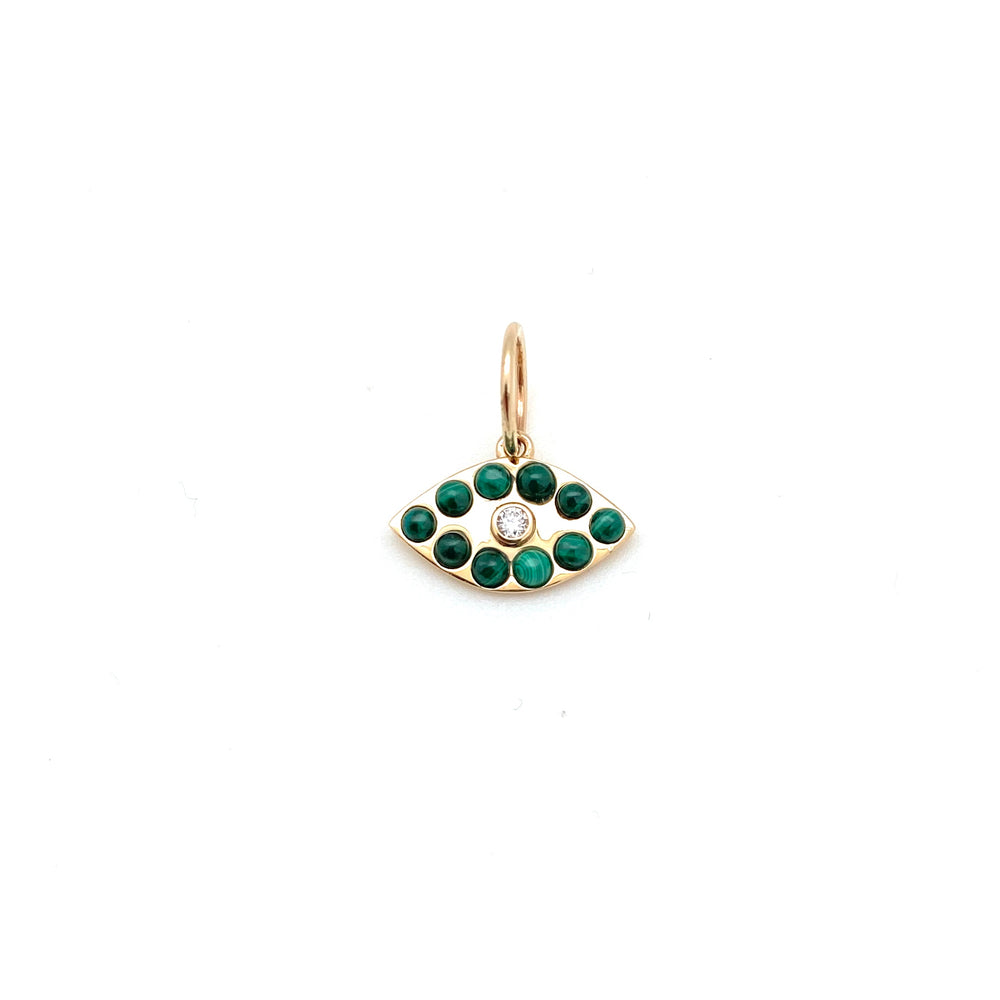 14k gold and malachite Evil Eye