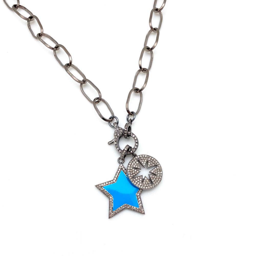 Compass Rose Pave Disc Pendant
