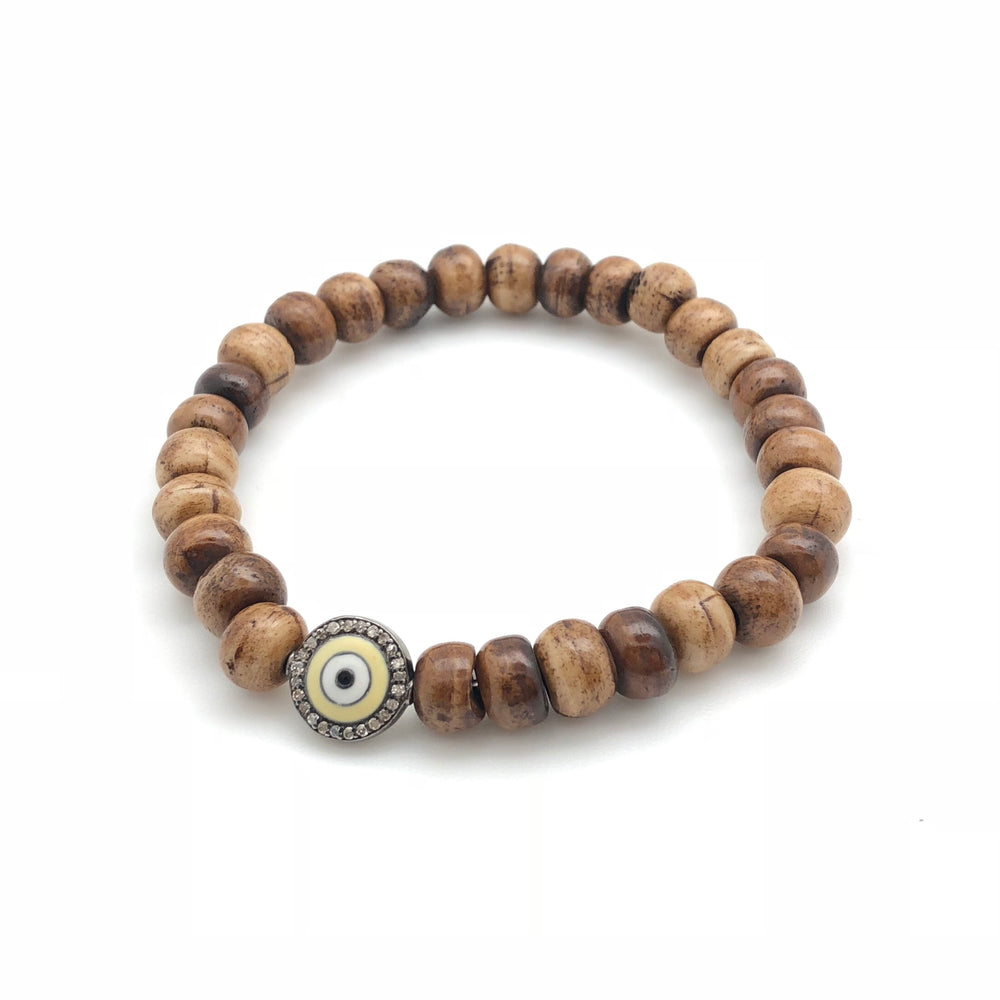 Shell Beaded Bracelet with Enamel Evil Eye