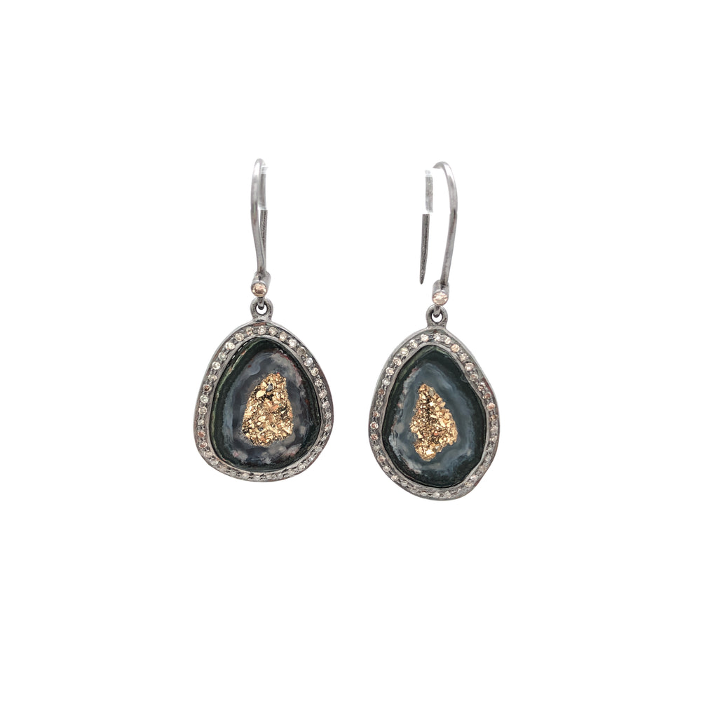 Geode Drop Earrings - gold