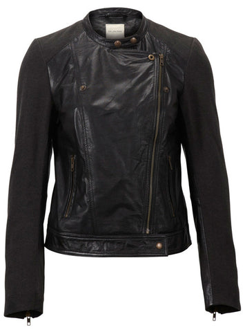 Fitted læderjakke TANNA MIX LEATHER JACKET FJ m detaljer
