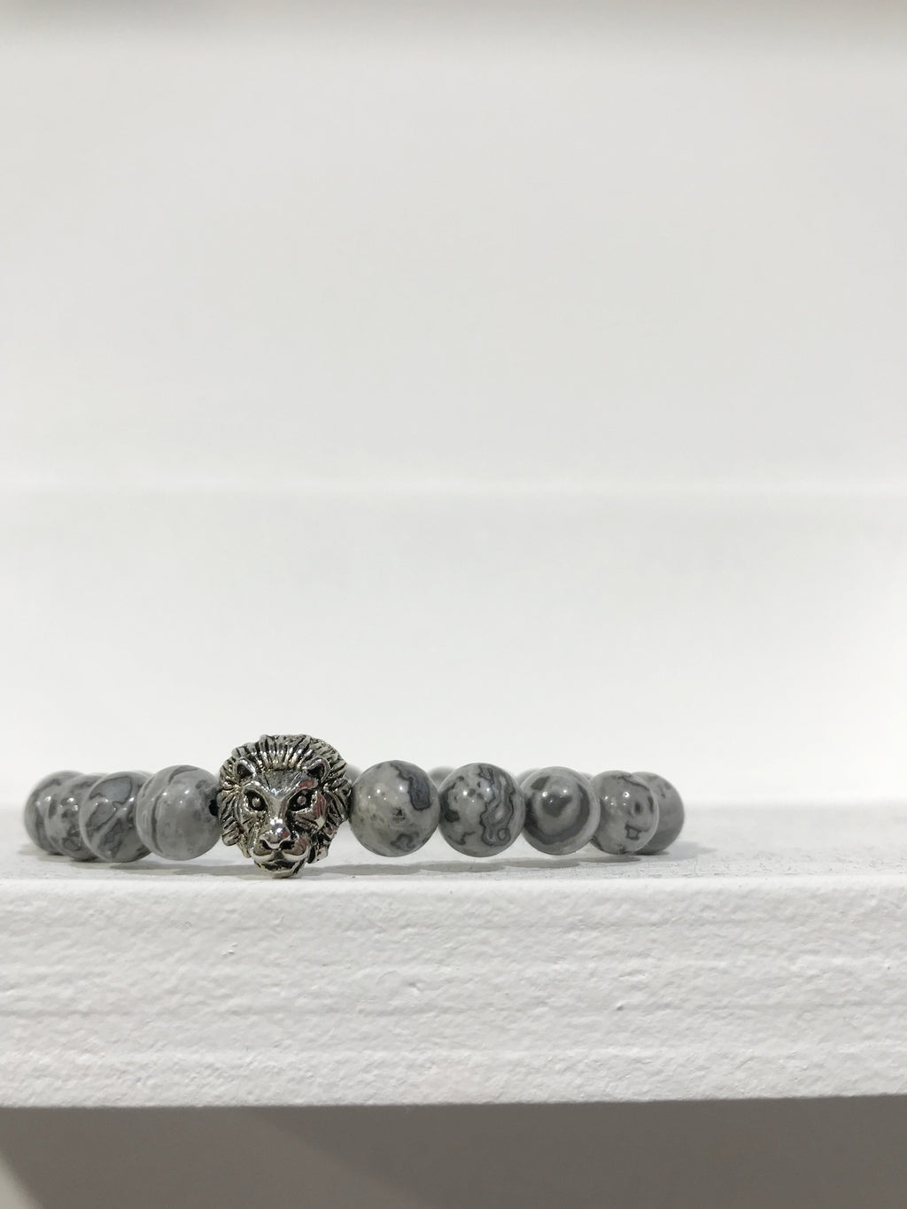 LION COLLEXION Mens Bracelet - Grey Jasper