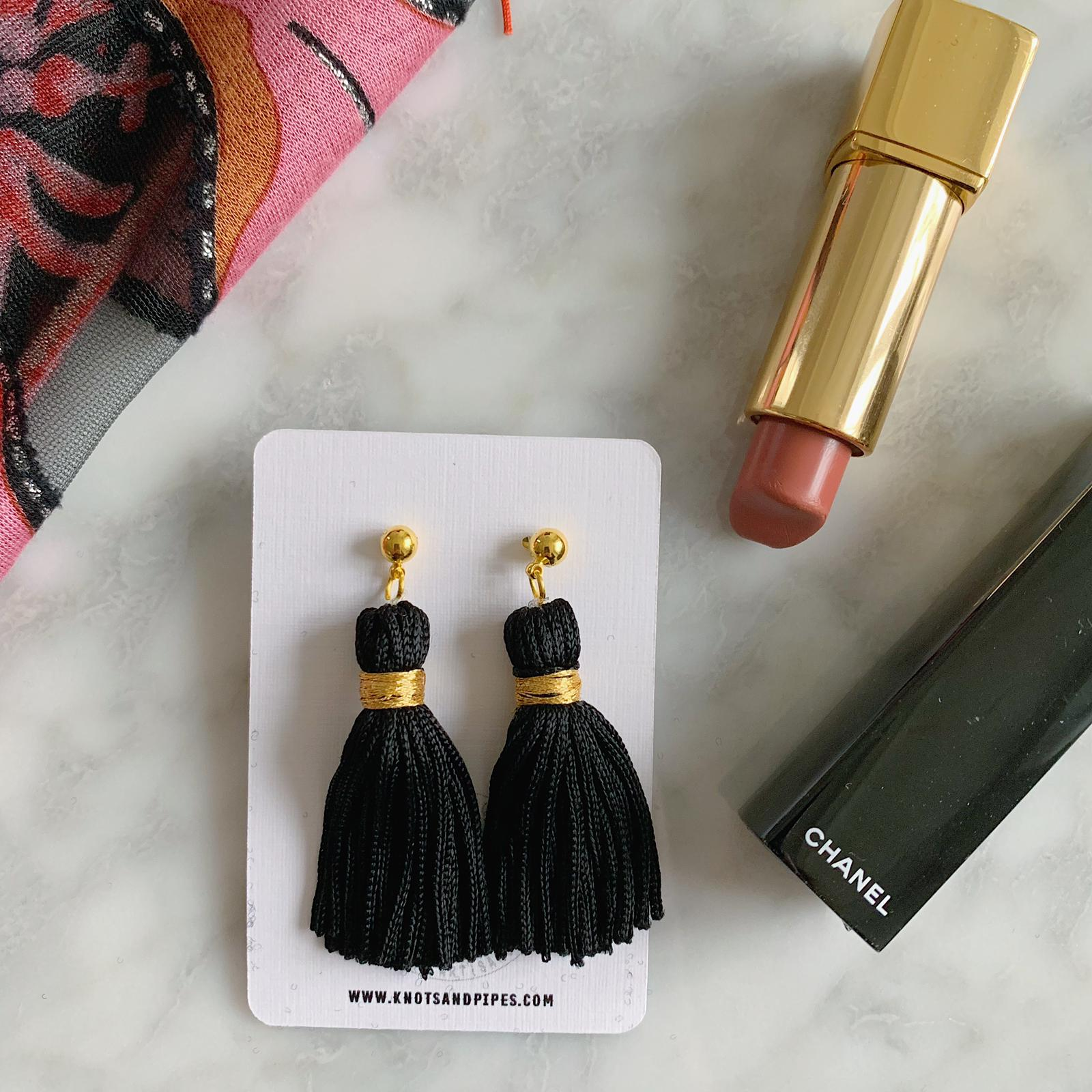 K&P | Black & Gold Tassel Earrings
