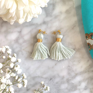 K&P | Mint & Gold Tassel Earrings