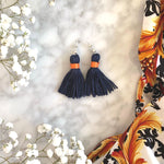 K&P | Navy & Orange Tassel Earings