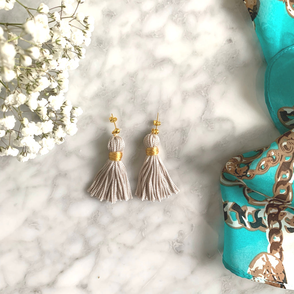 K&P | Grey & Gold Tassel Earrings
