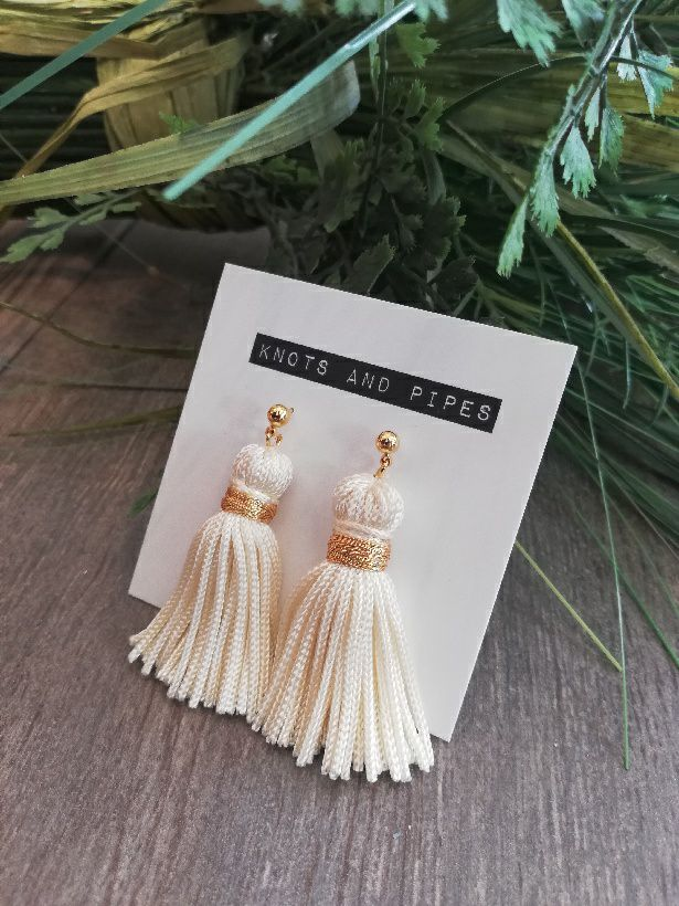 K&P | Ivory & Gold Tassel Earrings