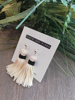 K&P | Ivory & Black Tassel Earrings