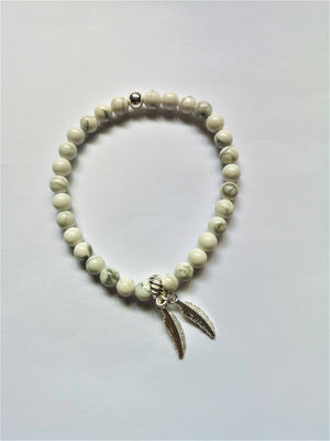 TWIN FEATHER  - Howlite