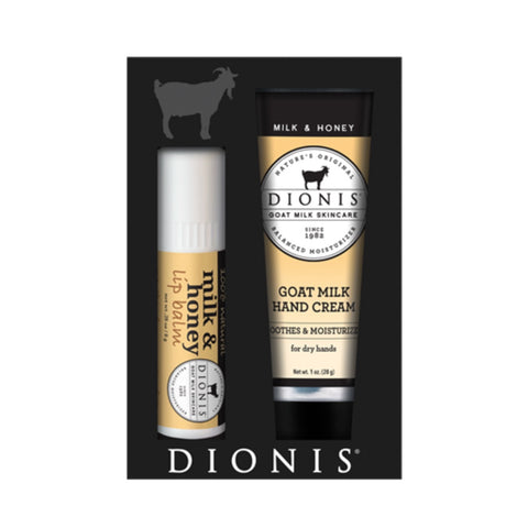 Dionis Goat Milk Hand Cream & Lip Balm Set - Milk & Honey