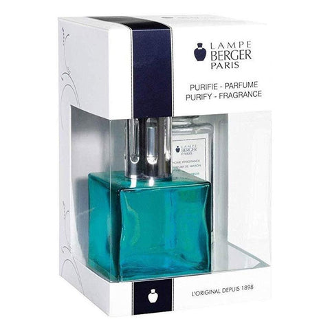 Cube Glass Lampe Berger Gift Set - Turquoise