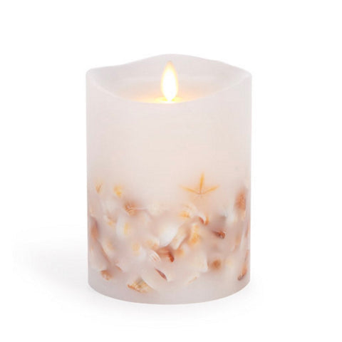 "Luminara Flameless LED Unscented Sea Shell Pillar Candle 4"" x 5"""