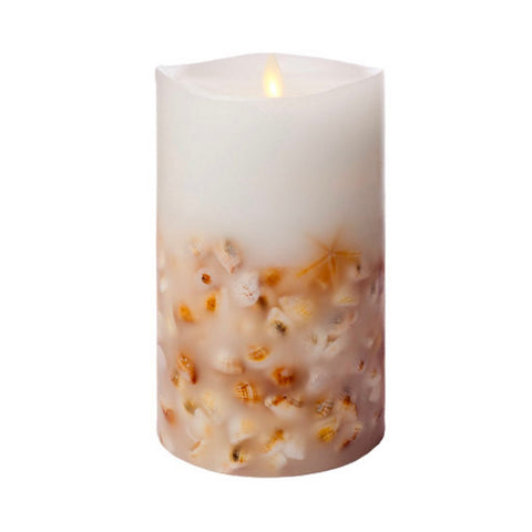 "Luminara Flameless LED Unscented Sea Shell Pillar Candle 4"" x 7"""