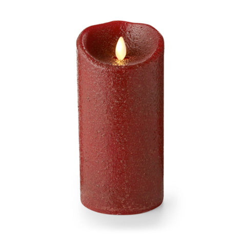 "Luminara Flameless LED Unscented Rio Red Pillar Candle 3.5"" x 7"""