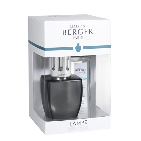 June Glass Lampe Berger Gift Set - Grey Satin