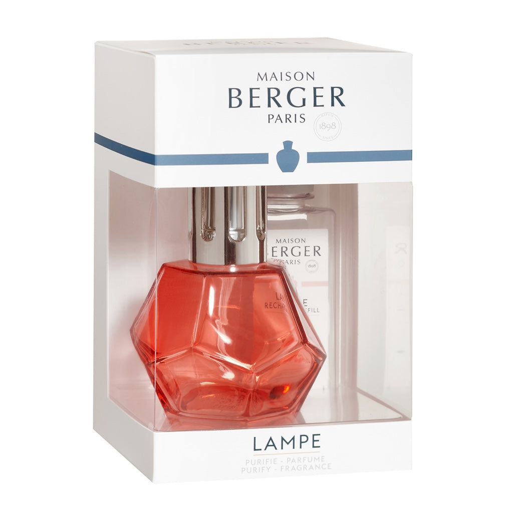 Geometry Glass Lampe Berger Gift Set - Grenadine Red