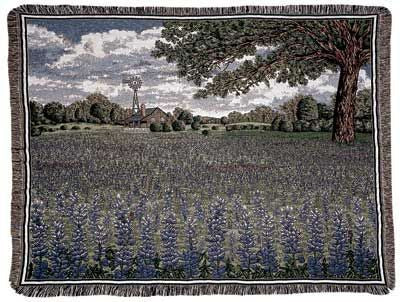 Texas Bluebonnets Tapestry Throw