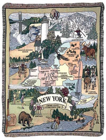 State Of New York Tapestry Throw