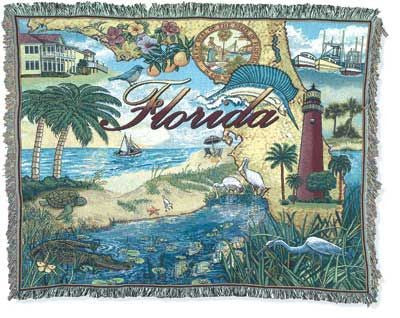 State Of Florida Tapestry Throw