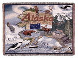 State Of Alaska Tapestry Throw