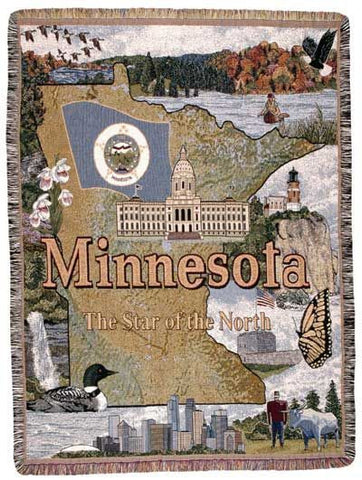 State Of Minnesota Tapestry Throw