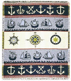 Nautical Symbols Mid-Size Two Layer Throw
