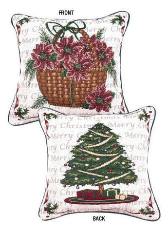 Traditions Of Christmas 2 Sided Pillow (Tree/Basket)