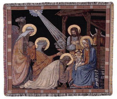 Adoration Of The Magi Mid-Size Tapestry Throw