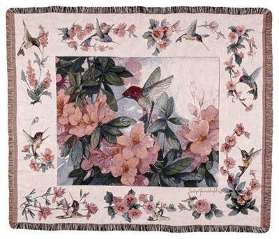 Hummingbird Garden Tapestry Throw