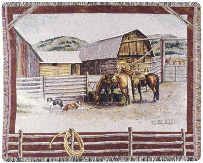 Ranch Life Mid-Size Tapestry Throw